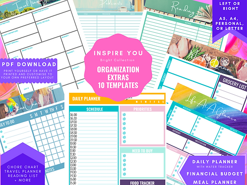Organisation Extras Planner Bundle insert download a4, a5, personal, letter