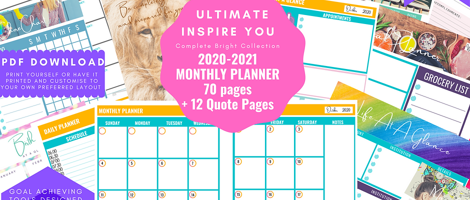 July 2020 - June 2021 Monthly View Planner insert download a5, a4, personal and