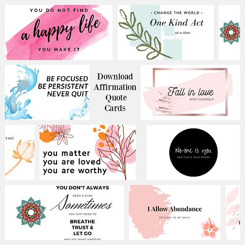 Printable quote affirmation cards