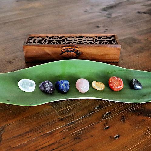 Chakra Balancing kit 7 Crystal Healing Tumbled Stones Set carved wooden box