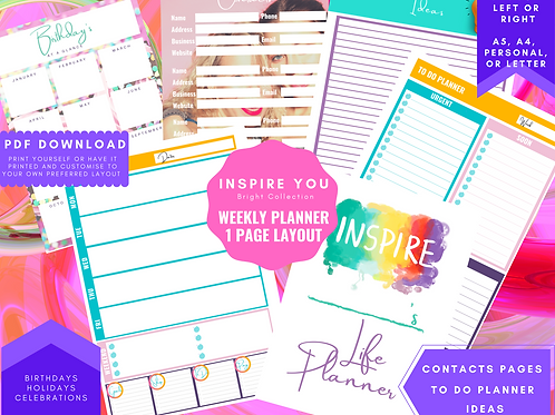 Weekly Planner insert download a5, a4, personal and letter