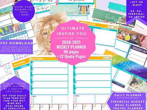 July 2020 - June 2021 Dated Weekly View Planner insert download a5, a4, personal
