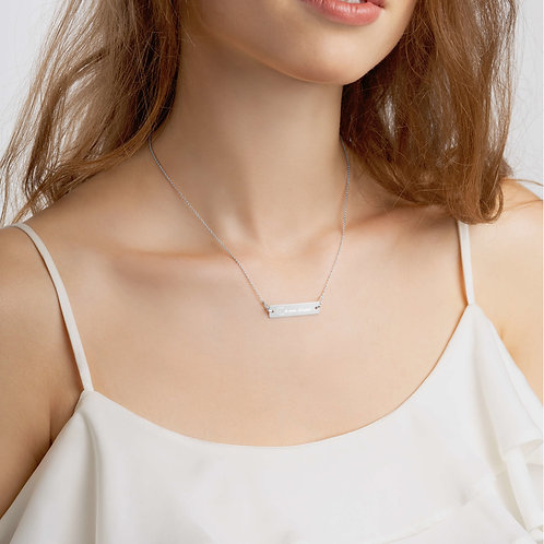 Dream chaser Engraved Silver Bar Chain Necklace