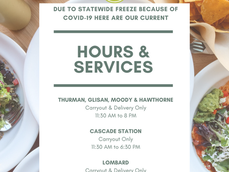 Hours & Services Due to COVID Freeze