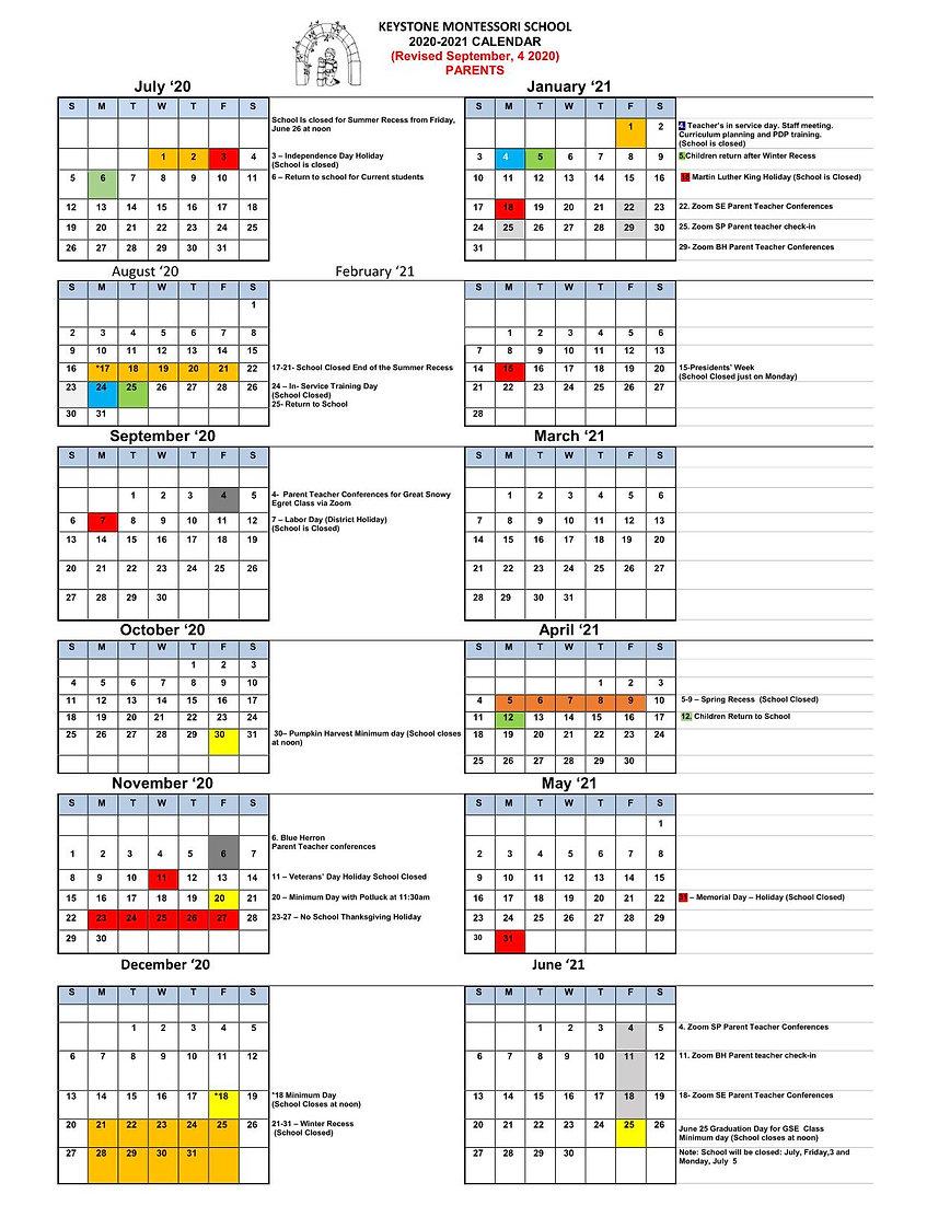 School Calendar 2020-21 REVISED  Sep 4 2