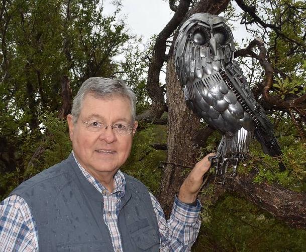 Ken Law with his sculpture exhibit on Kangaroo Island, Australia