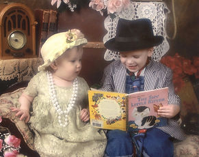 Antiquites Antique Color Vintage Brother and Sister Reading a Book