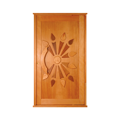 African Sunset Pivot Door