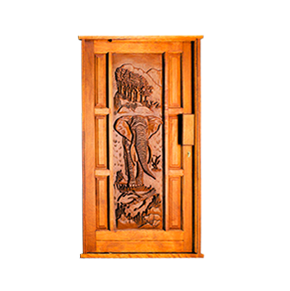 Carved Elephant Pivot Door