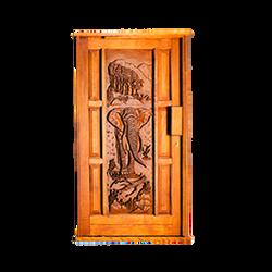 Carved Elephant Pivot Door