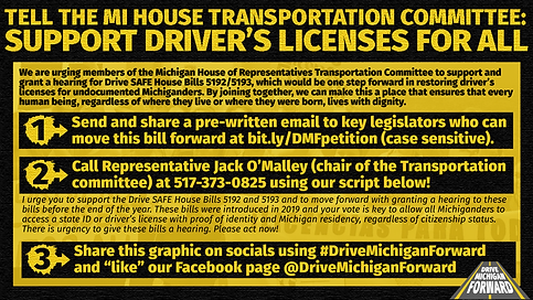 This image contains action item text that is written out at drivemichiganforward.com/action-toolkit