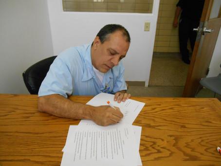 Danny Edwards signs an affidavit