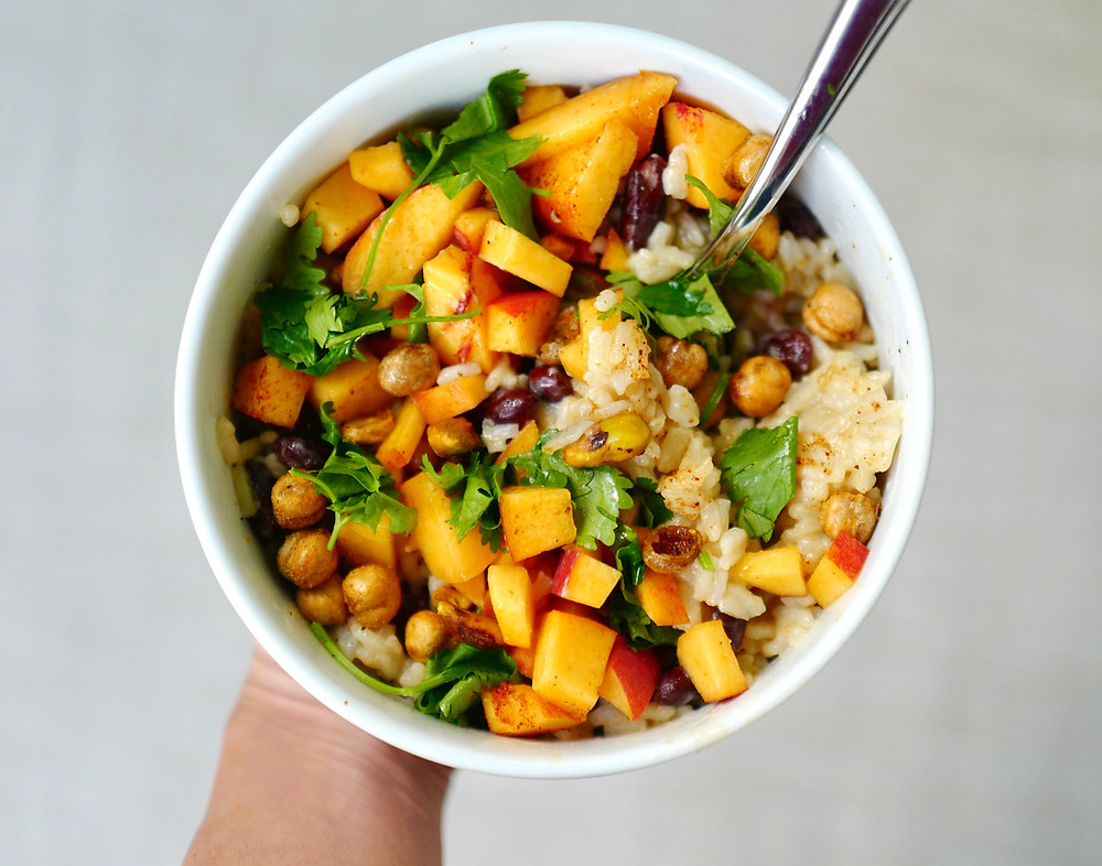 Coconut Lime Rice with Red Beans and Peaches