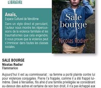"""""""Sale bourge"""",  un roman au cœur des violences familiales et conjugales."""