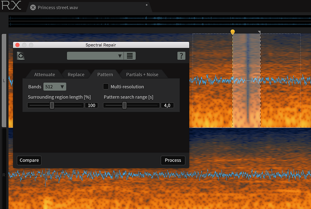 I closed some random short gaps in the recording, using RX's spectral repair.