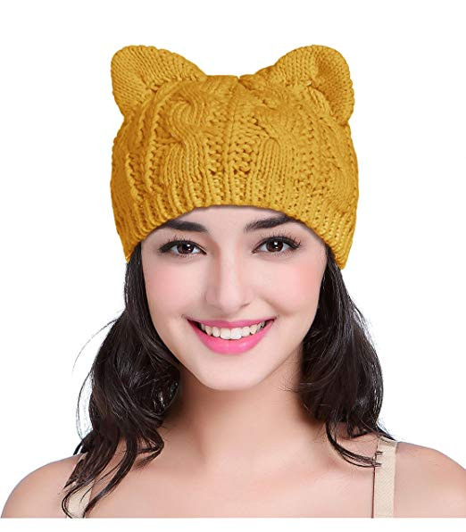 Mustard beanie hat with ears