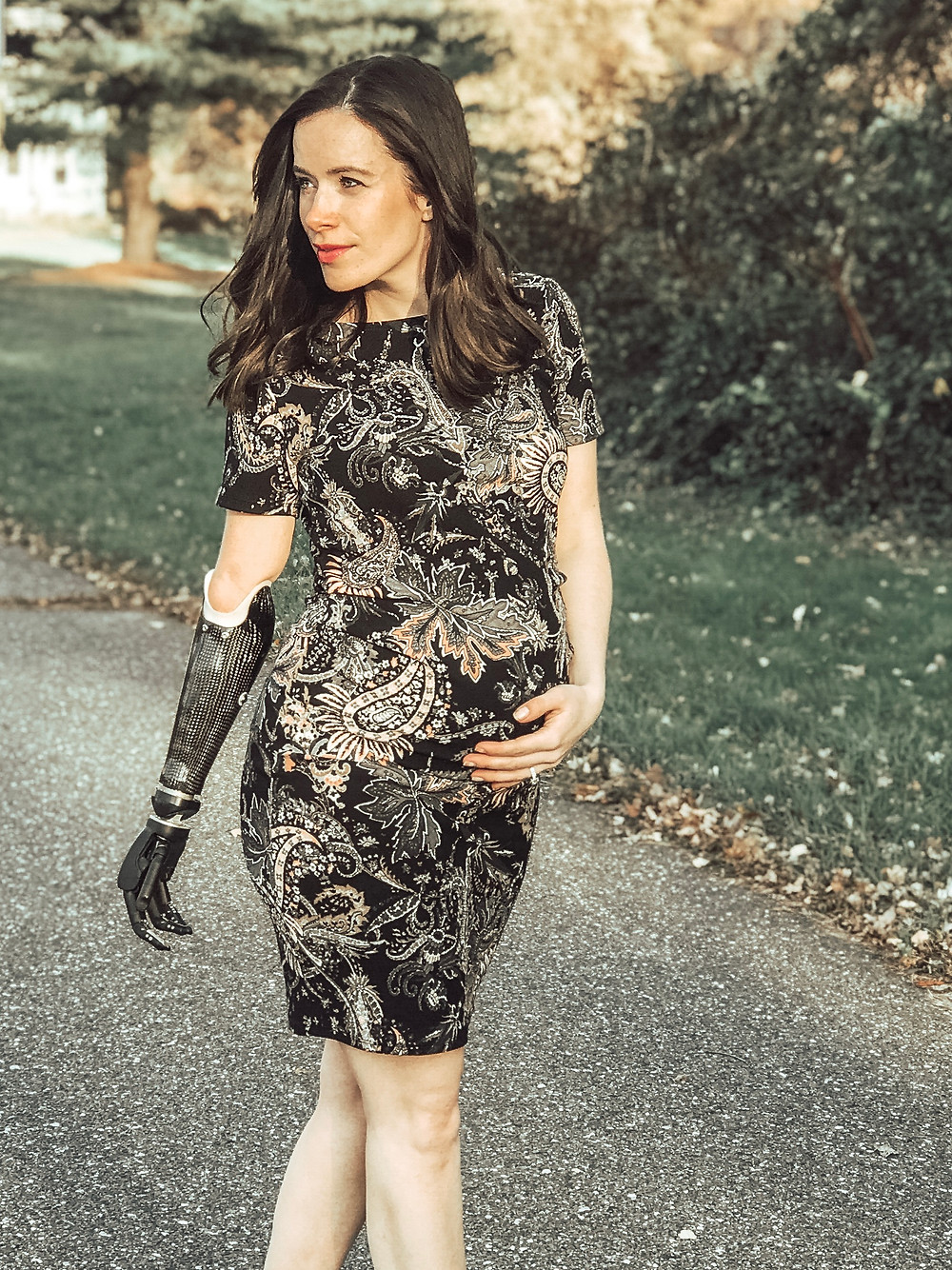 Rebekah Marine wearing fitted Maternity Dress from PinkBlush