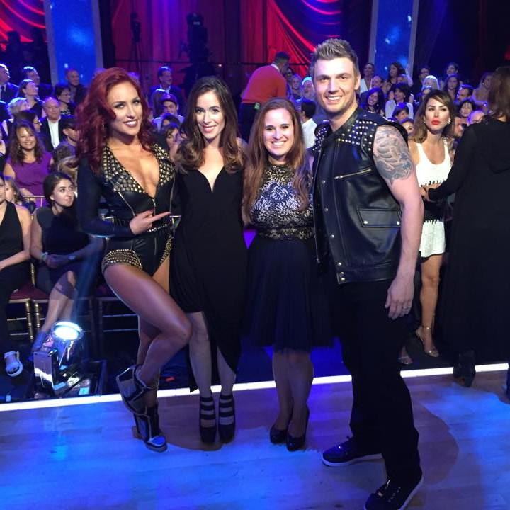 Rebekah Marine with Nick Carter and Sharna Burgess on Dancing with the Stars