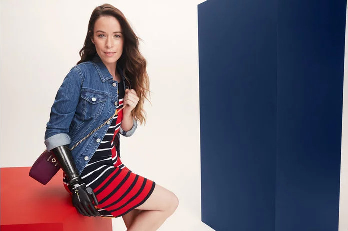 Bionic Model Rebekah Marine wearing Tommy Hilfiger for Runway of Dreams collection