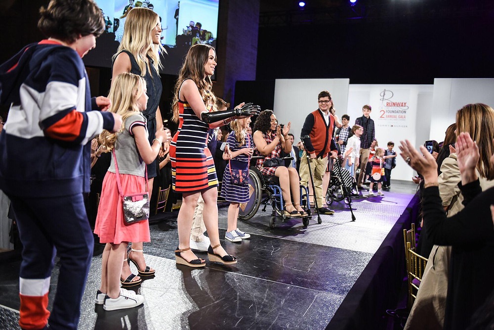 Rebekah Marine with other models at Runway of Dreams finale