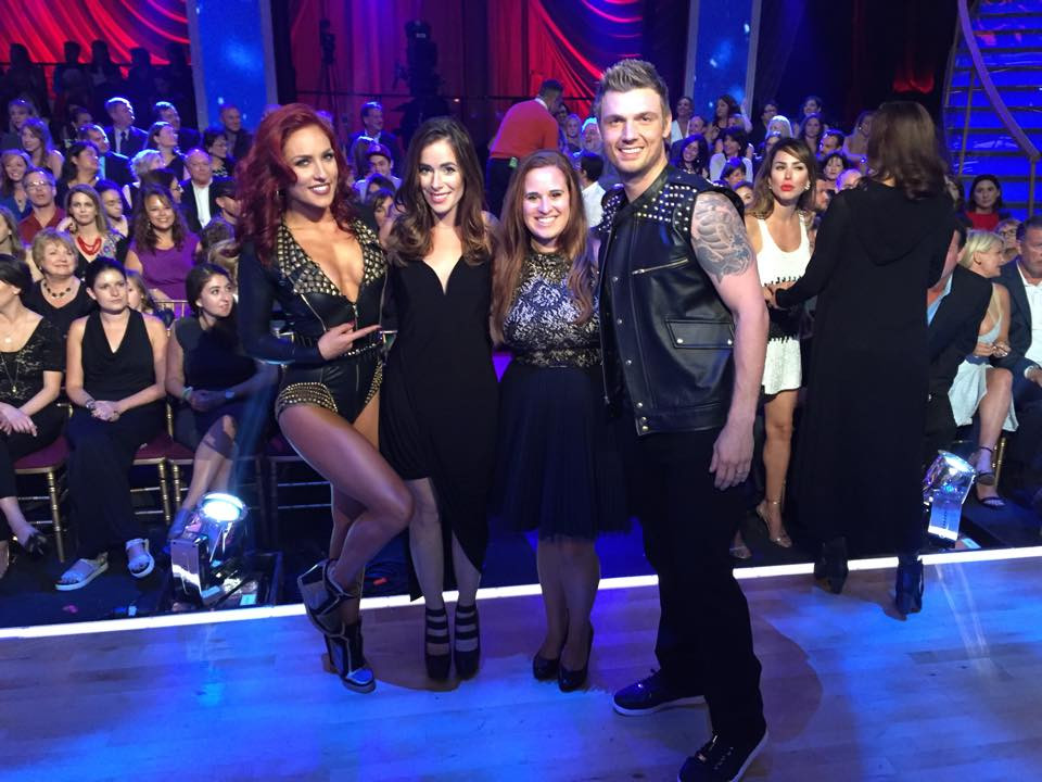 Rebekah Marine (and sister-in-law) with Nick Carter and Sharna Burgess on Dancing with the Stars