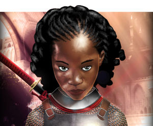 The Warrioress. African teen girl with katana sword in medieval europe armor character portrait digital painting