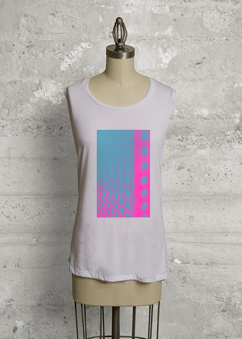 Vertical Scale Blue-Pink Sleeveless Knit Top