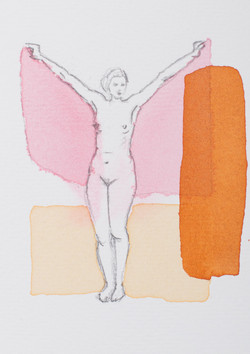 Nude with orange and pink