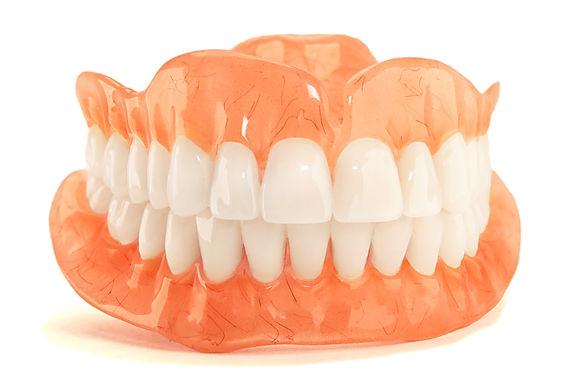 Full denture dentures close-up. Orthoped