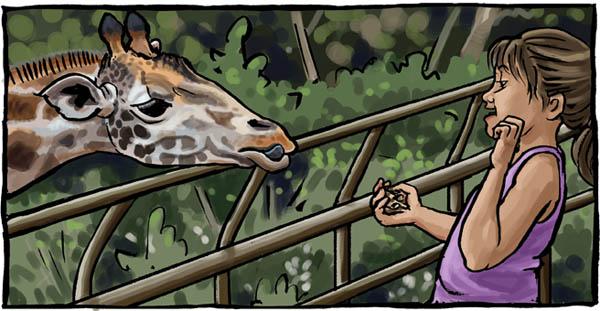 Kilapa (giraffe) & girl