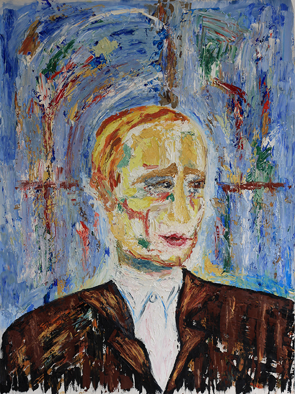Putin _ Oil impasto on canvas on Kappafix _ 108cm x 83cm _ by Ira 2016