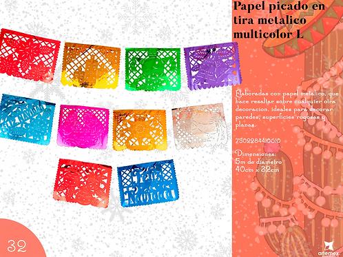 Papel Picado En Tira Metálico Multicolor L