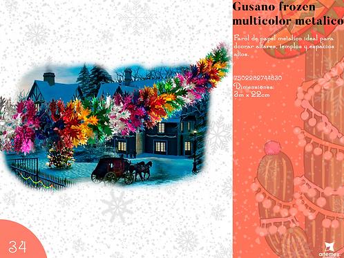 Papel Picado - Gusano Frozen Multicolor Metálico
