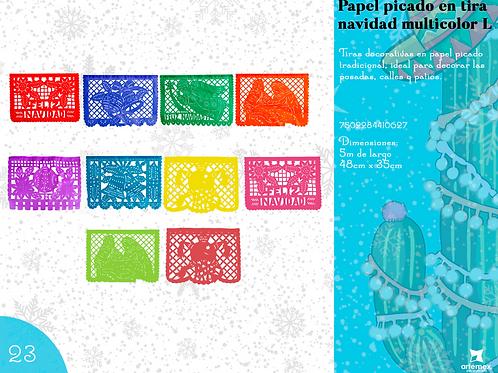Papel Picado En Tira Navidad Multicolor L