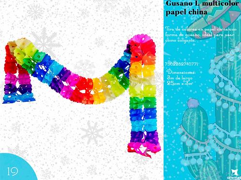 Papel Picado - Gusano Multicolor L