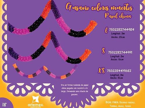 Gusano de papel de colores Día de Muertos