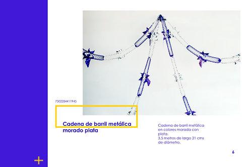 Papel Picado - Cadena de Barril Metálica Morado Plata