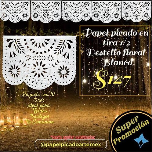 Papel Picado -Tira De Papel Picado Destello Floral Blanco