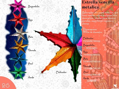 Papel Picado -Estrella Sencilla Metálica