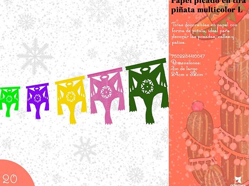 Papel Picado En tira Piñata Multicolor L