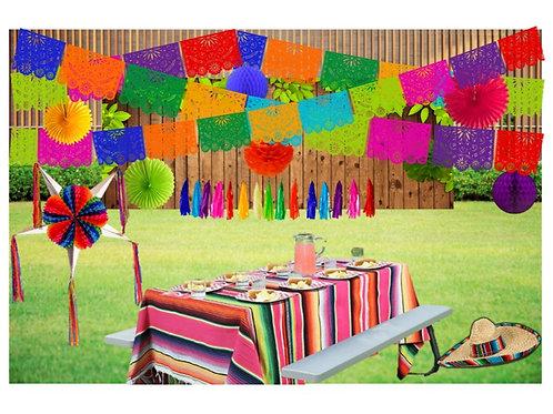 Papel Picado - Kit Decoración Fiesta Mexicana