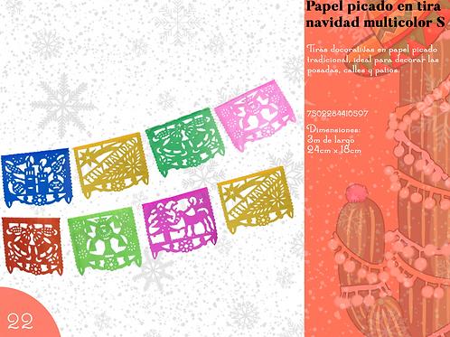 Papel Picado En Tira Navidad Multicolor  S