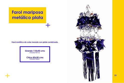 Papel Picado - Farol Mariposa Morado Plata