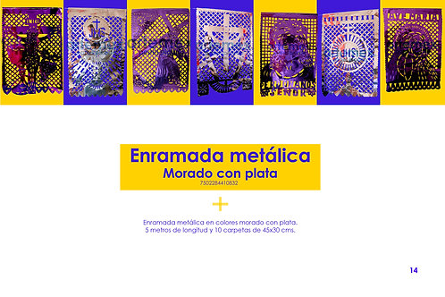 Papel Picado - Enramada Metálica Morada Plata