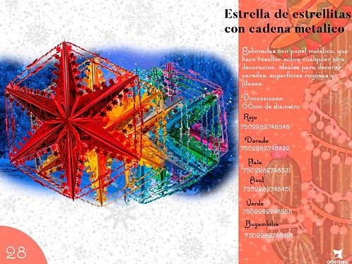 Papel Picado- Estrella De Estrellitas Con Cadena Metálico