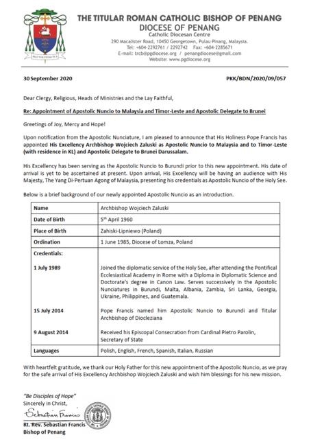 Appointment of Apostolic Nuncio to Malaysia and Timor-Leste and Apostolic Delegat