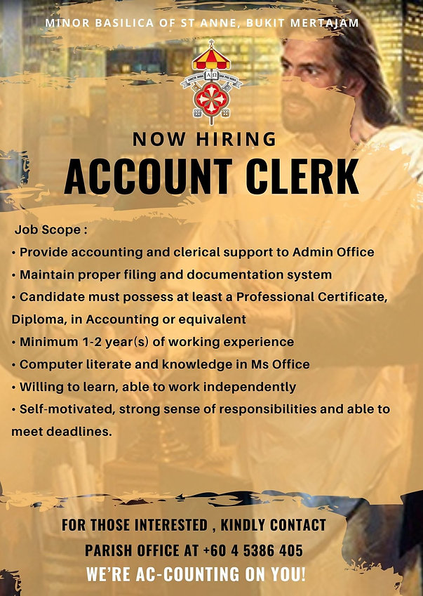 Church Accounting Clerk Job Vacancy Anno