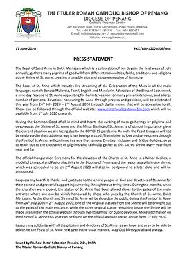 Press Statement_2020 St. Anne's Feast &