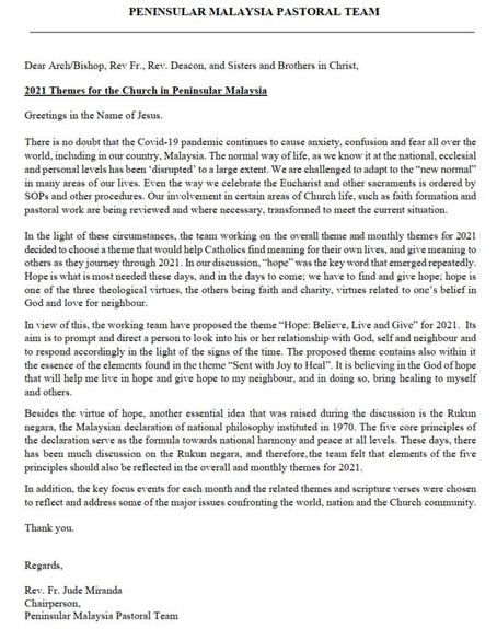 2021 Themes for the Church in Peninsular Malaysia