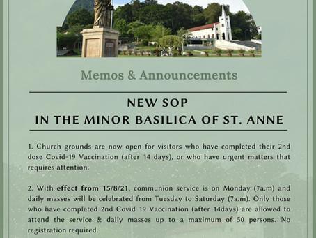 Basilica Announcement: New SOP in Minor Basilica of St. Anne